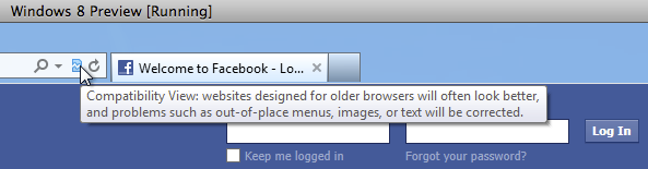 Compatibility View Issue on Facebook.com using IE10 on Window 8 Developer Preview